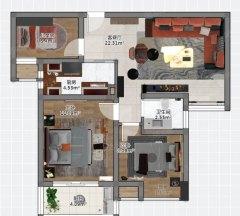 (宿城新区)名豪·太阳城3室1厅1卫2200元/月89m²出租