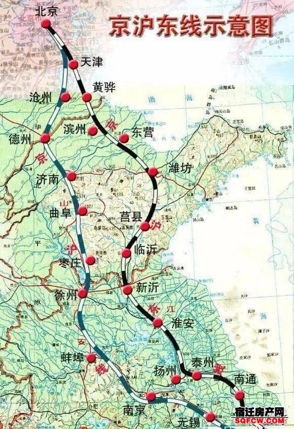 未来宿迁高铁分布:泗洪、泗阳各有2条,沭阳或无缘京沪二线(图4)