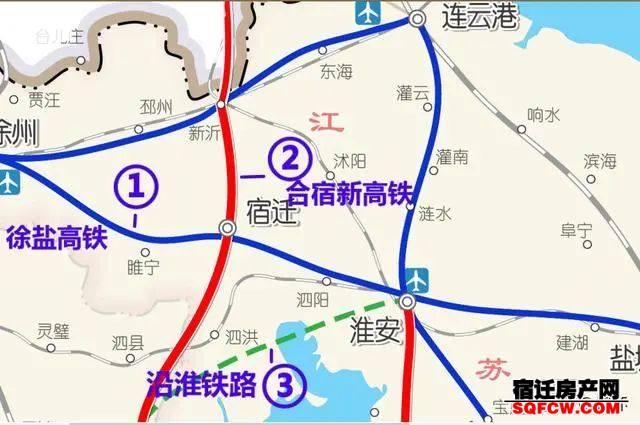未来宿迁高铁分布:泗洪、泗阳各有2条,沭阳或无缘京沪二线(图1)